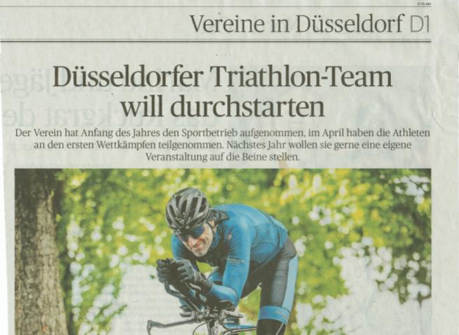 Triathlon Team Düsseldorf in der Rheinischen Post
